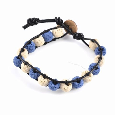 Blue & White Lava Rock Bracelet