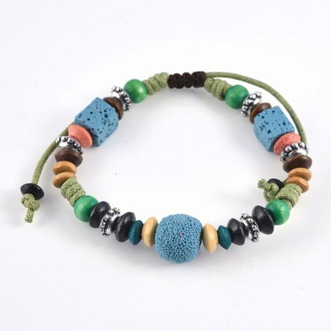 Multi Blue Lava Rock Bracelet