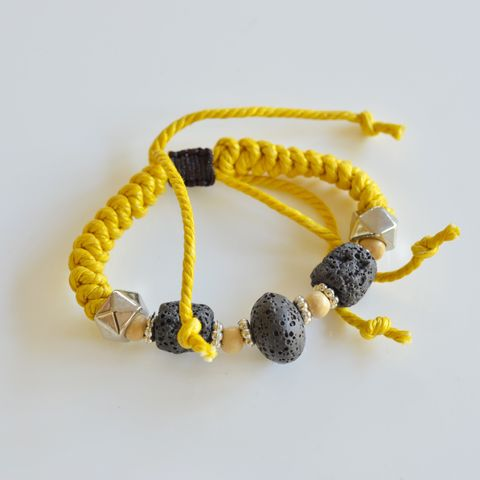 Thick Yellow Lava Rock Bracelet