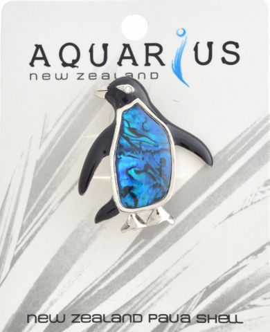 Blue Paua Penguin Brooch