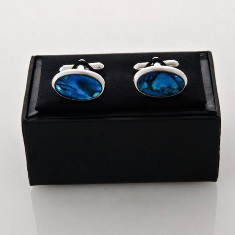 Oval Blue Paua Cufflinks