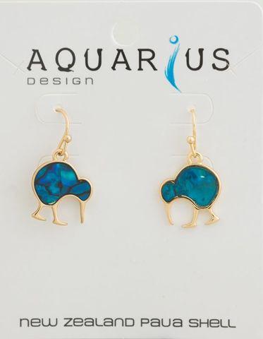 Blue Dyed Walking Kiwi Gold Earring