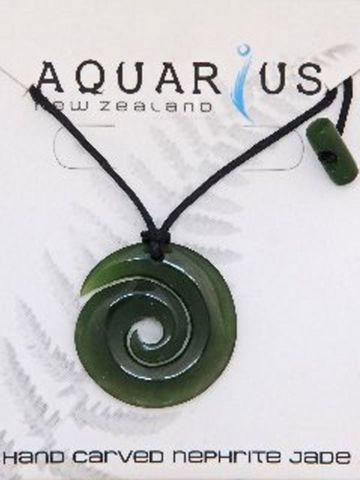 Jade Downward Koru Pendant on Black String