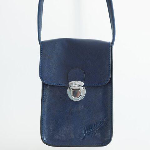 Navy Fern Embossed Upright Handybag