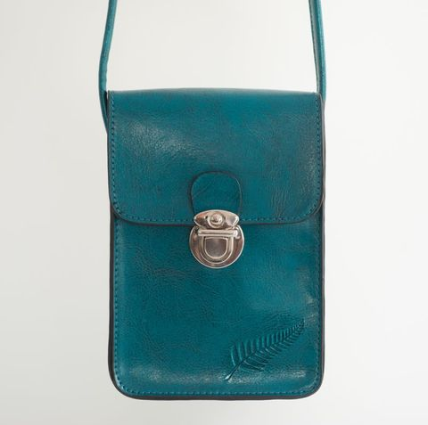 Teal Fern Embossed Upright Handybag