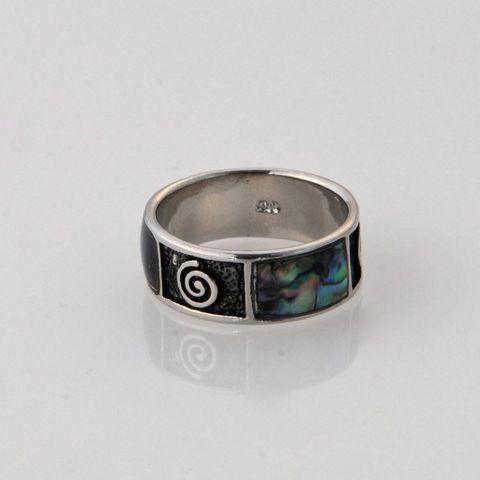 Wide Paua Koru Ring