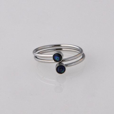 Paua Double Coil Ring