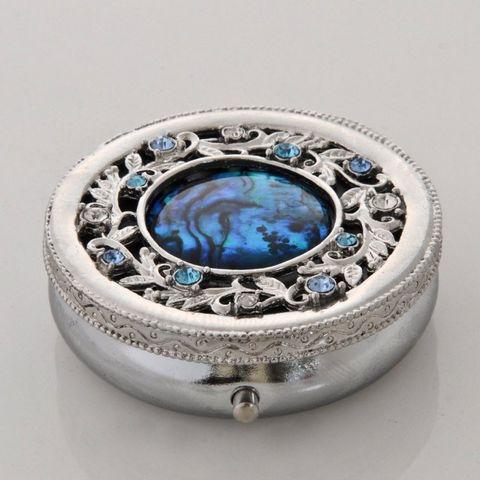Blue Paua Pillbox/ Crystal Stones