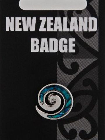Blue Paua Koru Badge