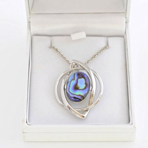 Boxed Paua Gallery Oval on twist setting Pendant