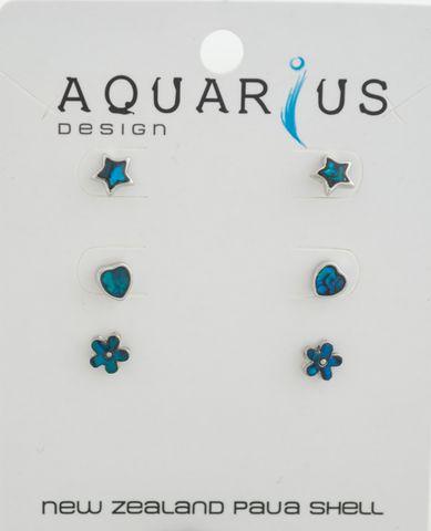 Blue Paua Flower Heart Star 3Pr ER SET