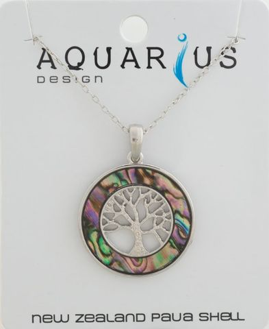 Natural Paua Kauri Tree Ring Pendant