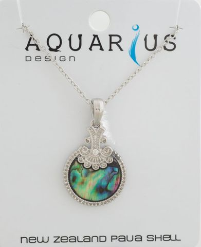 Paua Round Antiqued Crystal Necklace