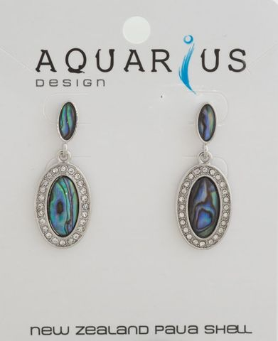 Paua Crystal Oval Stud Drop Earring