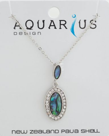 Paua Crystal Oval Drop Pendant