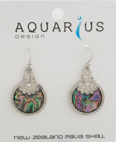 Paua Round Antiqued Crystal Earring