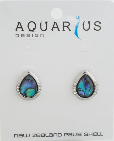 Paua Teardrop with Crystal Earring