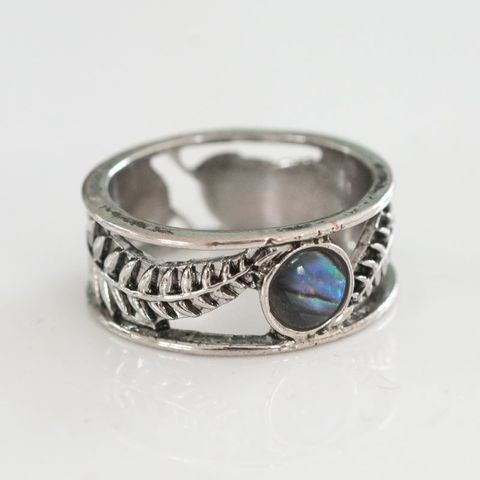 Med Ferns with Natural Paua Ring