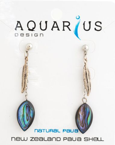 Paua Leaf with Metal Feather Earring
