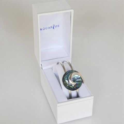 Boxed Paua Gallery Round Wave Overlay Cuff