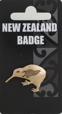 Gold Kiwi & Fern Badge