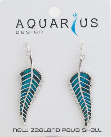 Dyed Paua Fern Earring