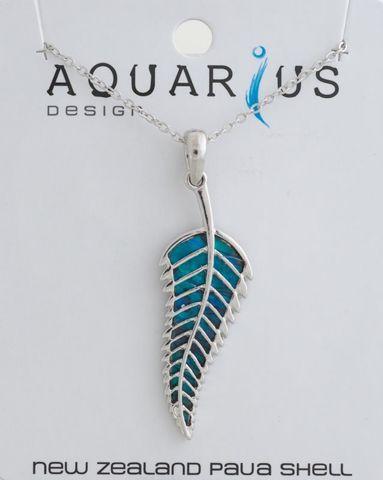 Dyed Paua Fern Pendant