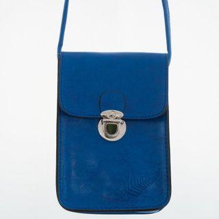 Cobalt Fern Embossed Upright Handybag