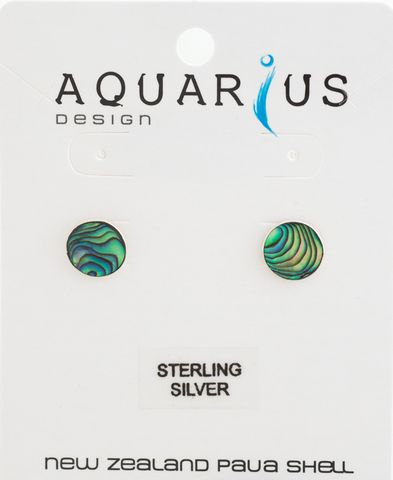 Paua/St Silver Round 10mm Earring