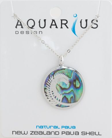 Natural Paua Medium Fern Pendant