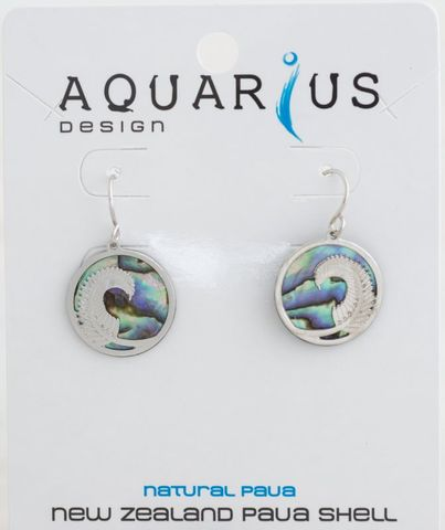 Natural Paua Fern Earring