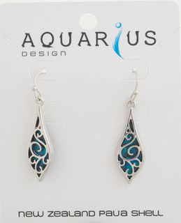 Filigree Rain Drop Dyed Paua Earring