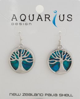 Dyed Paua Kauri Tree Hook Earring
