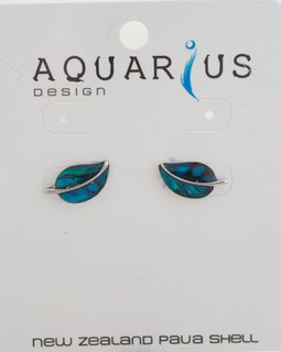 Dyed Paua Leaf Stud Earring