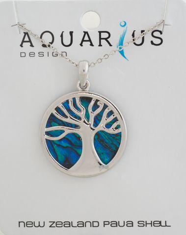 Dyed Paua Kauri Tree Pendant