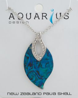Dyed Paua Leaf with Crystal Pendant