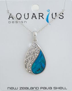 Mitre Floating Dyed Paua filigree teardrop Pendant