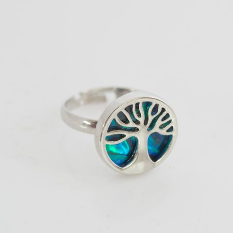 Dyed Paua Tree of Life Adjustable Ring