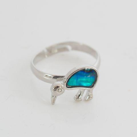 Dyed Paua Kiwi Adjustable Ring