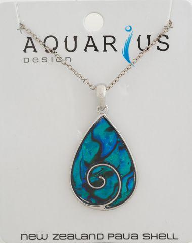 Koru Tear Drop Dyed Paua Pendant