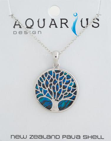 Tree of Life Dyed Paua Pendant