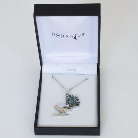 Matte Black Box Paua Fantail Necklace