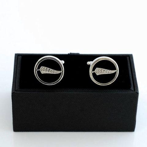 Silver Fern on Black Cufflinks