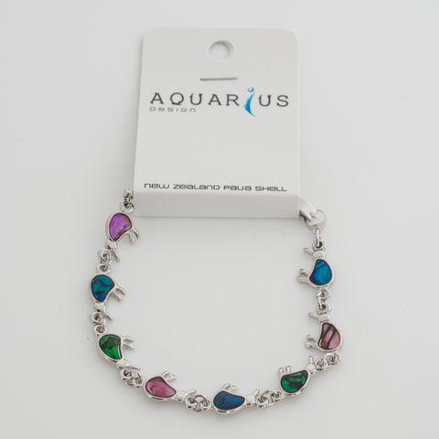 Pink/Blue/Green Paua Kiwi Bracelet