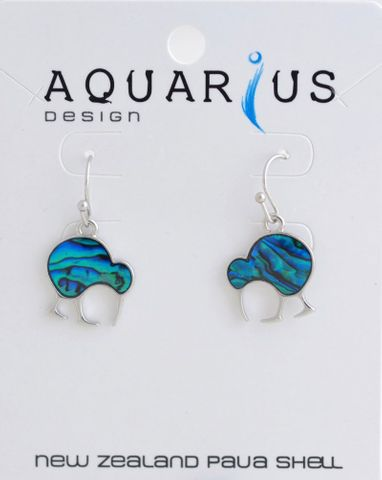 Blue Paua Walking Kiwi Earrings