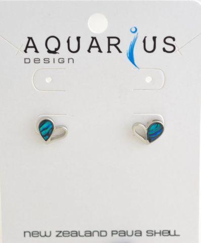 Blue Paua Half Heart Earring