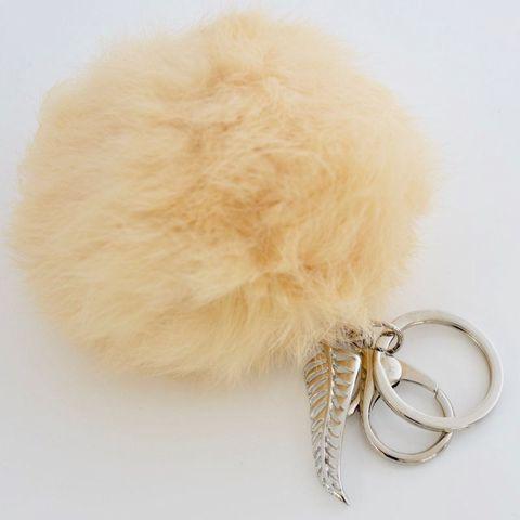 Cream - FERN - 9cm POM POM Key Ring/Handbag Charm