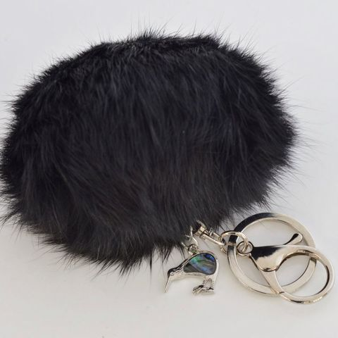 Black - KIWI - 9cm POM POM Key Ring/Handbag Charm