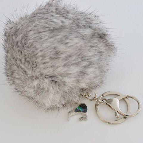 Grey - KIWI - 9cm POM POM Key Ring/Handbag Charm