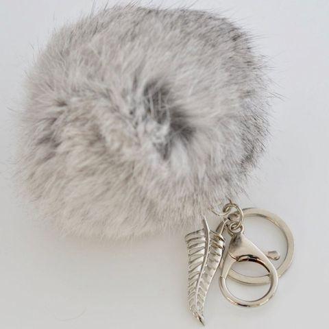 Grey - FERN - 9cm POM POM Key Ring/Handbag Charm
